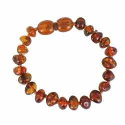 Bracelet 13 cm Ambre de la Baltique coloris cognac foncé