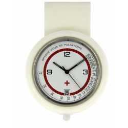 Montre Infirmiére en plastique Blanche avec broche Quartz Ronda 515 Swiss Parts EM15534
