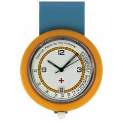 Montre Infirmiére en plastique orange avec broche Quartz Ronda 515 Swiss Parts EM15524