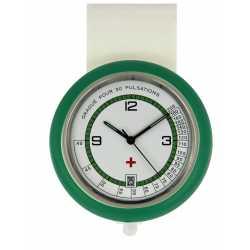 Montre Infirmiére en plastique avec broche, coloris au choix mouvement Quartz Ronda 515 Swiss Parts EM15534