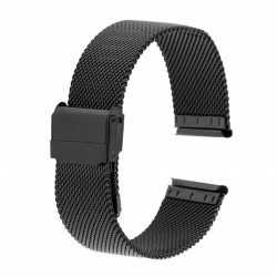 Bracelet montre 24mm Mesh Noir en Maille Milanaise en Acier PVD