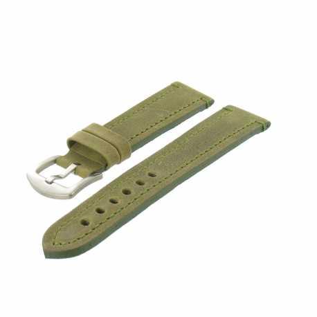 Bracelet montre Vert de 20 à 30mm en Cuir Vintage Arizona EcoCuir® Artisanal