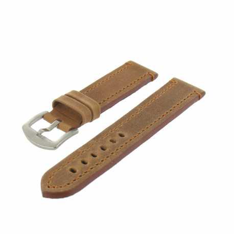 Bracelet montre Marron doré de 20 à 30mm en Cuir Vintage Arizona EcoCuir® Artisanal
