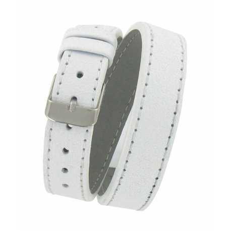 Bracelet de montre Blanc Double tour de poignet 08 à 14mm Cuir Véritable 40cm OnWatch®
