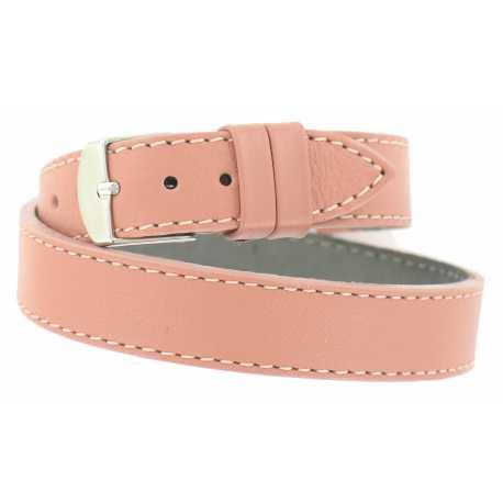 Bracelet de montre Rose Fard Double tour de poignet 08 à 14mm Cuir Véritable 40cm OnWatch®