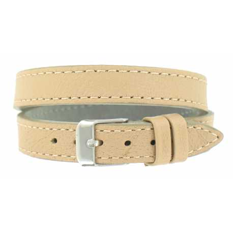 Bracelet de montre Beige Double tour de poignet 08 à 14mm Cuir Véritable 40cm OnWatch®