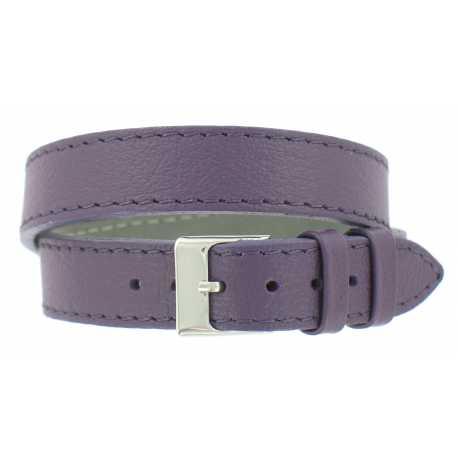 Bracelet de montre Mauve Double tour de poignet 08 à 14mm Cuir Véritable 40cm OnWatch®