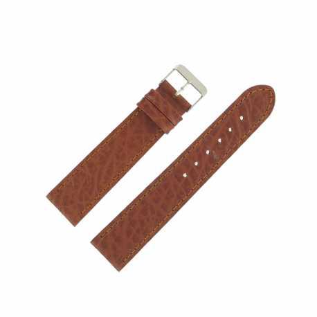 Bracelet montre Marron Doré de 18 et 20mm en Cuir gaufré Buffalo Ecocuir® Artisanal