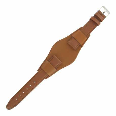 Bracelet montre Américain de 14-16 et 18mm Marron doré en Cuir véritable Ecocuir® Artisanal
