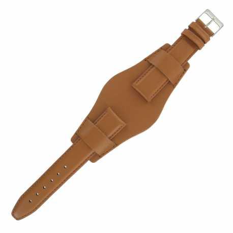 Bracelet montre Américain de 20-22 et 24mm Marron doré en Cuir véritable Ecocuir® Artisanal