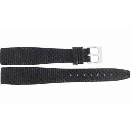 Bracelet à coller pour montre à anses fixes 18 et 20mm en Cuir Noir de vachette gaufré Lézard