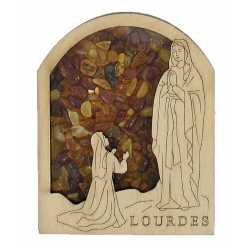 Magnet Notre Dame de Lourdes Apparition en Ambre véritable de la Baltique