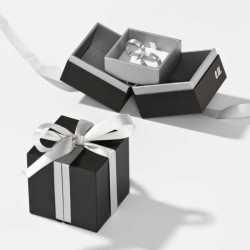 Écrin à languettes pour Alliances ou Créoles en carton 65x65x25mm Loft 0920015