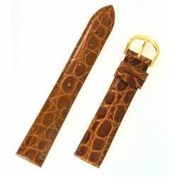 Bracelet montre 12 et 18mm Gold en cuir de veau façon Crocodile